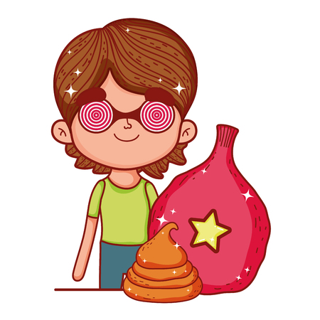 little boy with spiral glasses with balloon helium