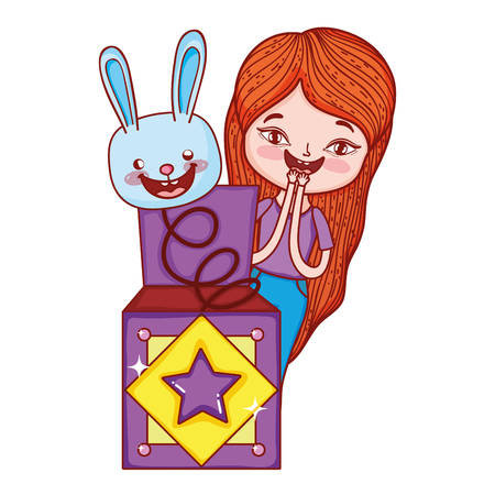 little girl with fools day surprise box and rabbit head vector illustration design Illustration