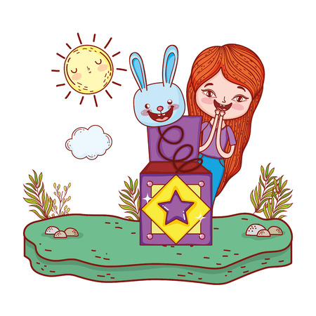 girl with surprise box and rabbit head in the landscape vector illustration design