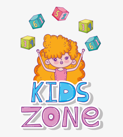 girl with cubes game in the kids zone vector illustration Ilustração
