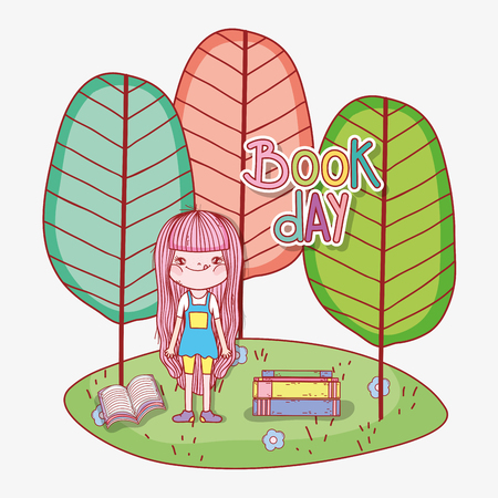 girl read books to learn with trees vector illustration Banque d'images - 125069685