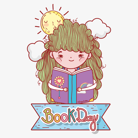 girl read book with sun and clouds vector illustration Banque d'images - 125069686