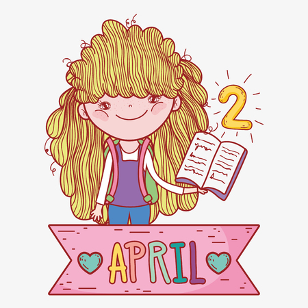 girl with book to learn in the literature day vector illustration Banque d'images - 125069687