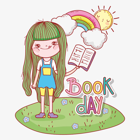 girl read book with rainbow and sun vector illustration Banque d'images - 125069688