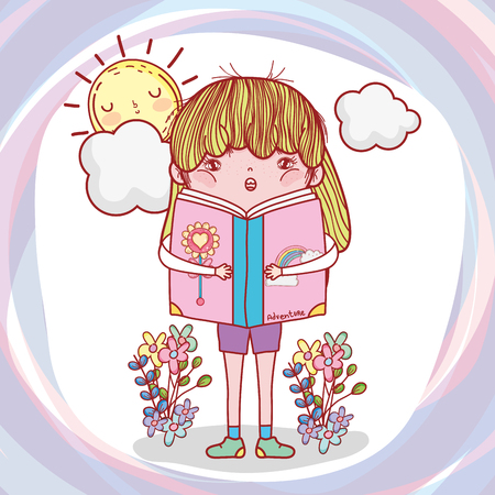 girl read book with plants and sun vector illustration Banque d'images - 125069689