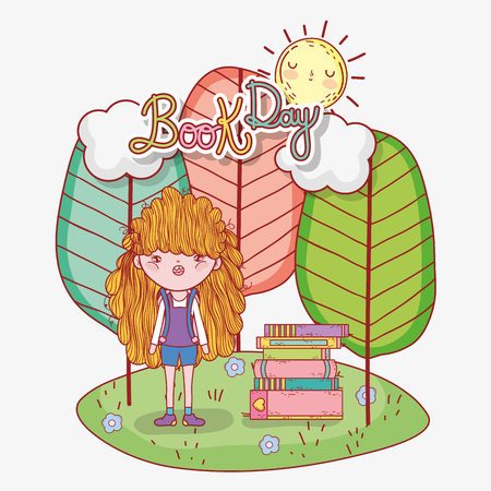 girl read books information with trees and sun vector illustration Banque d'images - 125069690