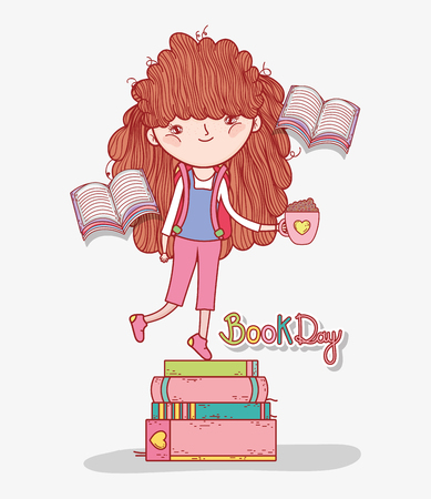 girl read books in the literature day vector illustration Banque d'images - 125069692