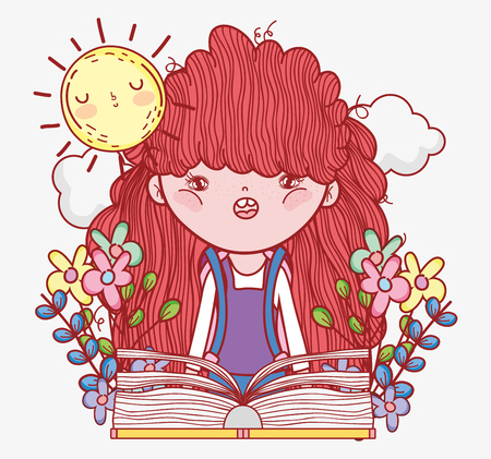girl read book with flowers and sun vector illustration Banque d'images - 125069693