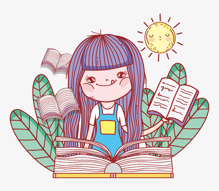 girl read books information in the leaves vector illustration Banque d'images - 125069694