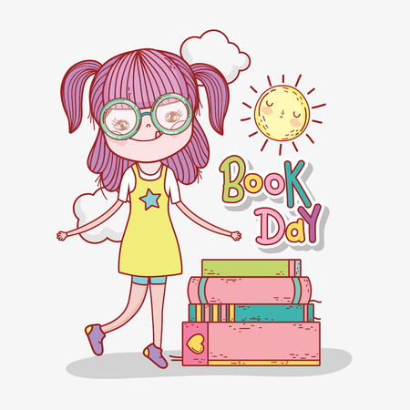 girl read books information to learn vector illustration Banque d'images - 125069695