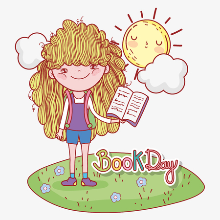 girl read book information with sun and cloud vector illustration Banque d'images - 125069701