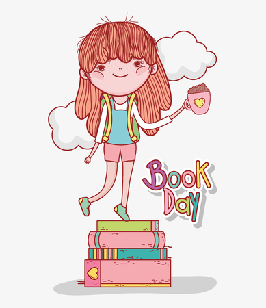 girl read books with coffee cup vector illustration Banque d'images - 125069702