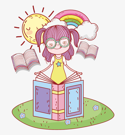 girl read book with sun and rainbow vector illustration Banque d'images - 125069703