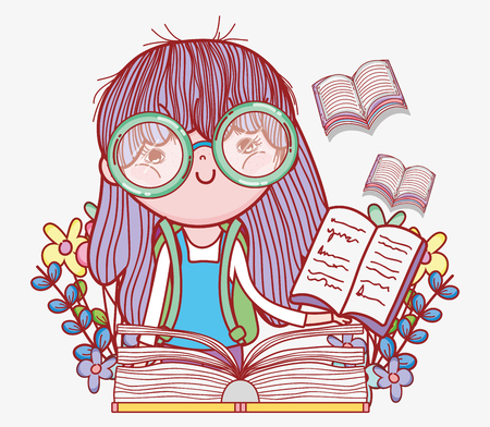 girl read book with flowers plants vector illustration Banque d'images - 125069704