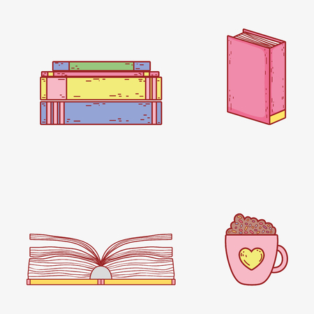 set books information and coffee cup vector illustration Banque d'images - 125069705