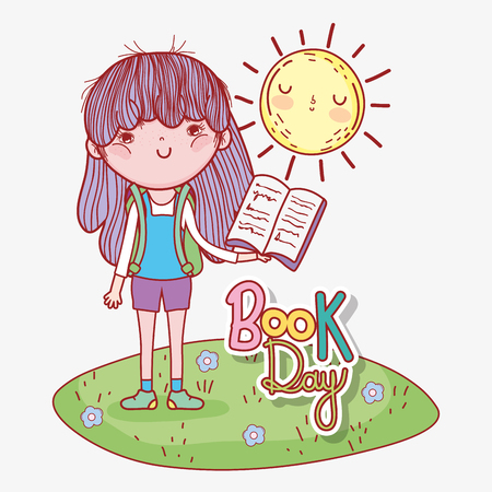 girl read book with sun to literature day vector illustration Banque d'images - 125069707