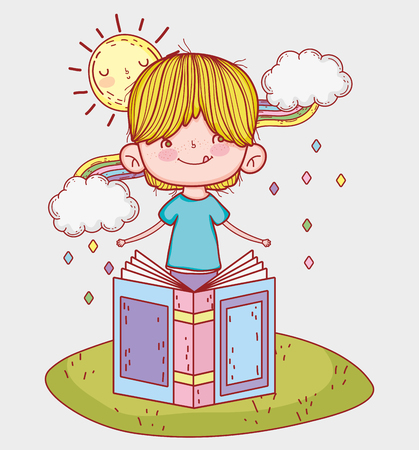 boy read book with sun and clouds vector illustration Banque d'images - 125069709
