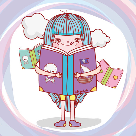 girl read books information with clouds vector illustration Banque d'images - 125069710