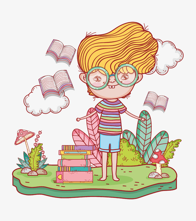 boy read books with leaves plants vector illustration Banque d'images - 125069713