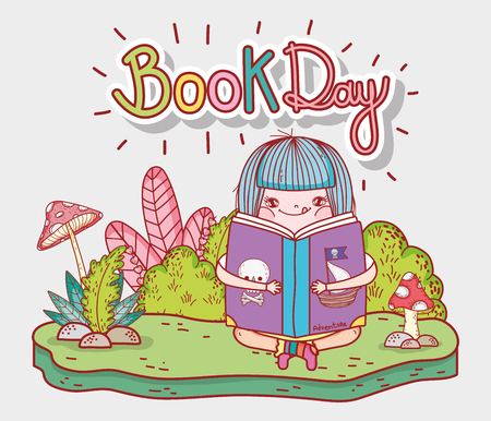 girl read book information with bushes vector illustration Banque d'images - 125069715