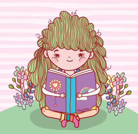 girl read book with flowers and plants vector illustration Banque d'images - 125069716