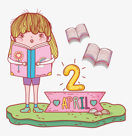 girl read books information to literature day vector illustration Banque d'images - 125069717