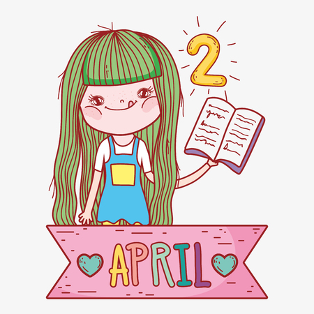 girl read book information to literature day vector illustration Banque d'images - 125069718