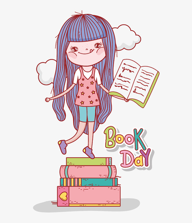 girl read books to learn in the literature day vector illustration Banque d'images - 125069719