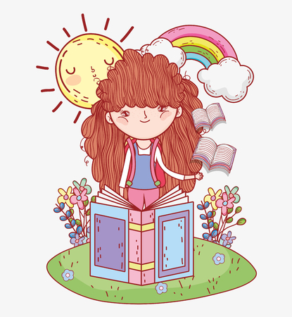 girl read books with rainbow and sun vector illustration Banque d'images - 125069720