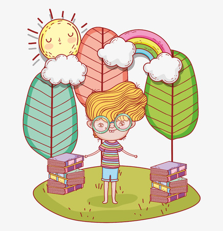 boy read books with trees and clouds vector illustration Banque d'images - 125069721