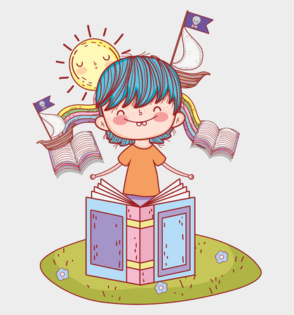 boy read books with ships and sun vector illustration Banque d'images - 125069723