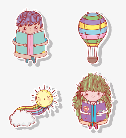set boy and girl read book with air balloon vector illustration Banque d'images - 125069724