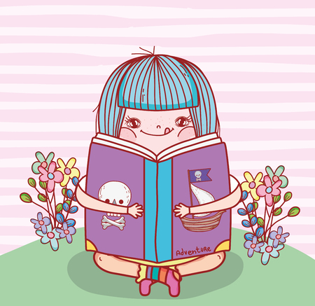 girl read book literature with flowers vector illustration Banque d'images - 125069725