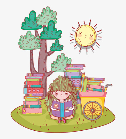 girl read books with hand cart vector illustration Banque d'images - 125069726