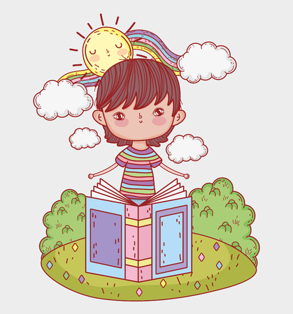 boy read book with sun and rainbow vector illustration Banque d'images - 125069727