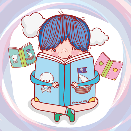 boy read book literature with clouds vector illustration