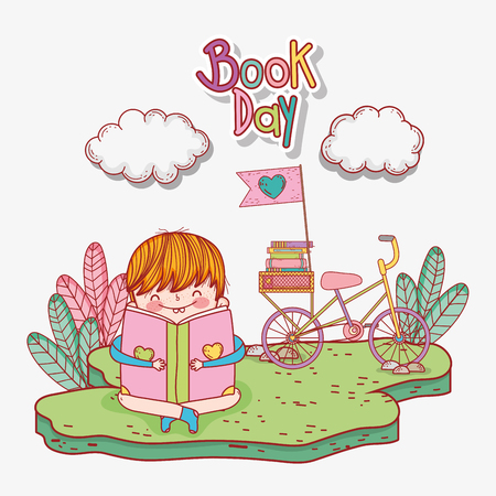 boy read books with bicycle and clouds vector illustration Banque d'images - 125069729
