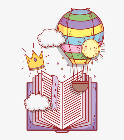 book with air balloon and crown with clouds vector illustration Banque d'images - 125069730