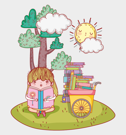 girl read literature book with hand cart vector illustration Banque d'images - 125069731