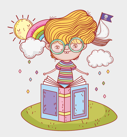 boy read literature book with clouds vector illustration Banque d'images - 125069732