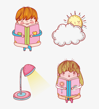 set girl and boy read book with lamp and sun vector illustration Banque d'images - 125069733