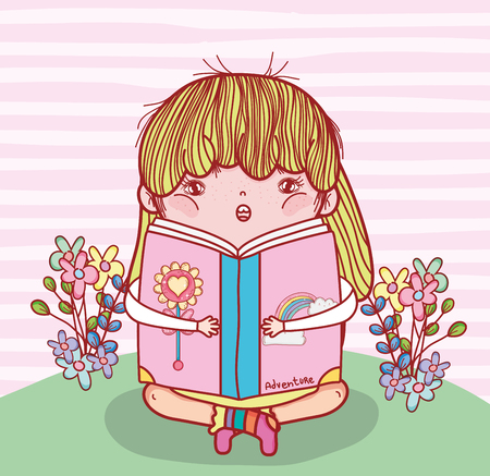 girl read book literature with plants vector illustration Banque d'images - 125069734