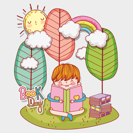 boy read literature books with trees and sun vector illustration Banque d'images - 125069735