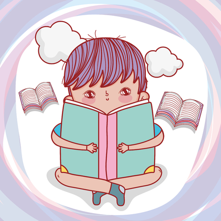 boy read books with clouds to literature day vector illustration Banque d'images - 125069737