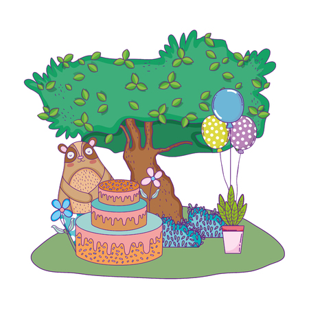 cute bear with sweet cake and balloons helium vector illustration design