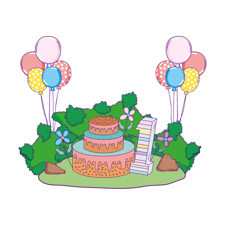 beautiful landscape with party cake and balloons helium vector illustration