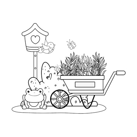 cute toad with wheelbarrow character vector illustration design Illustration