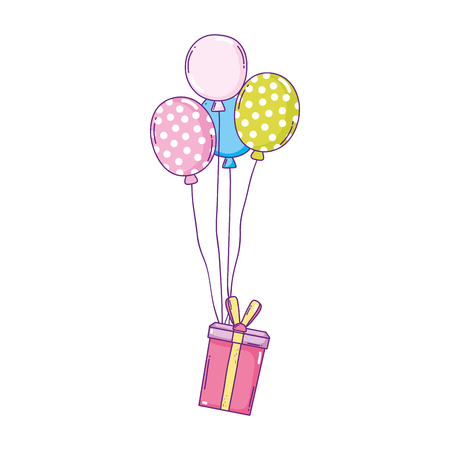 party balloons helium with gifts vector illustration design Banque d'images - 125022385