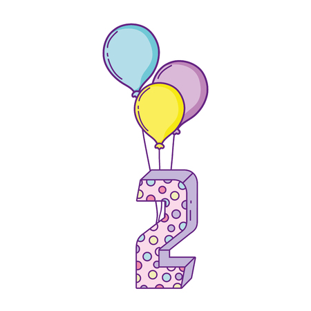 party balloons helium with candle number two vector illustration design Banque d'images - 125022386