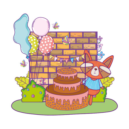 raccoon with cake and balloons helium in the field vector illustration design Illustration